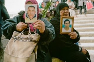 Tunis, Tunisia - April 2013. Relatives of disappeared migrants are doing a sit-in in front of the Minisitry of Social Affairs to pressure the Government to create a commission for investigation on what happened to their sons/brothers/husbands/cousins/nephews. (Photo by Alessandro Vecchi)