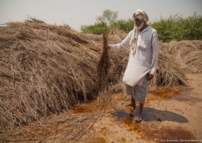 India has the largest number of small scale framers in the world. With limited land holding size and industrialisation of farming, farmers find it hard to sustain themselves. With climate change, their problems have worsened. A farmer in Mewat region of India is showing what sudden hail storm and rainfall did to his harvested crops.